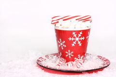 Cocoa with peppermint sticks Stock Photo