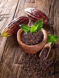 Cocoa pod with bowl on a dark wooden table. Stock Images