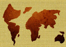 Cocoa powder. (world map), isolated Royalty Free Stock Photos