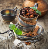 Cocoa powder, anise, sugar, vanilla pods in Stock Images