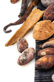 Cocoa powder and beans with cinnamon and vanilla Stock Photo