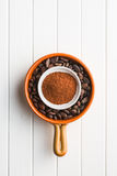 Cocoa powder and beans Stock Photo