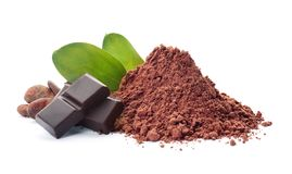 Cocoa powder, beans and pieces of chocolate. On white background stock image
