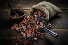 Cocoa powder. In bowl and cocoa beans on wooden background Stock Images