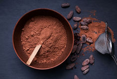 Cocoa powder in a bowl and cocoa beans Royalty Free Stock Image