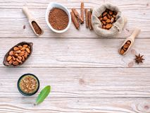 Cocoa powder and cacao beans on wooden background royalty free stock images