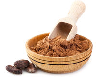 Cocoa powder and cacao beans Royalty Free Stock Photos