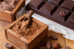 Cocoa powder, chocolate bar and cocoa beans Royalty Free Stock Photo