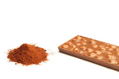 Cocoa powder and chocolate Royalty Free Stock Photo