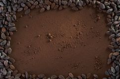 Cocoa Powder and Cocoa Beans Background Copy Space Stock Image