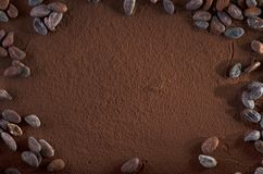 Cocoa Powder and Cocoa Beans Background Copy Space Royalty Free Stock Photography