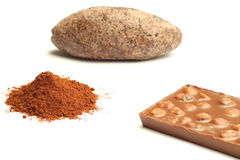 Cocoa powder, cocoa bread and chocolate Royalty Free Stock Photo