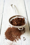 Cocoa powder dusted and sieve Stock Photos