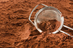 Cocoa powder with sieve Stock Photo