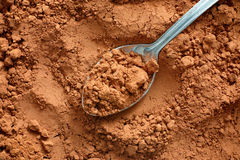 Cocoa powder with spoon Royalty Free Stock Photos