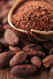 Cocoa powder in spoon on roasted cocoa chocolate beans backgroun Royalty Free Stock Images