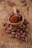 Cocoa powder in spoon on roasted cocoa chocolate beans backgroun Stock Photo