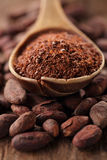 Cocoa powder in spoon on roasted cocoa chocolate beans backgroun Royalty Free Stock Photography