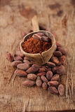 Cocoa powder in spoon on roasted cocoa chocolate beans backgroun Royalty Free Stock Image