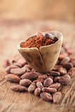 Cocoa powder in spoon on roasted cocoa chocolate beans backgroun Stock Photos