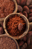 Cocoa powder in spoon on roasted cocoa chocolate beans Royalty Free Stock Photos