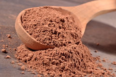 Cocoa powder in a spoon Royalty Free Stock Photos