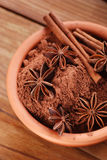 Cocoa powder with star anise and cinnamon Royalty Free Stock Photography