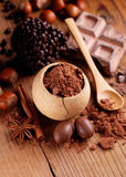 Cocoa powder on the table Stock Photography
