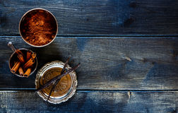 Cocoa powder, vanilla and cinnamon Stock Photos