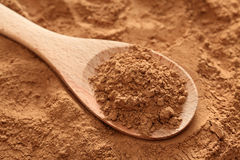 Cocoa powder in a wooden spoon. On cocoa powder background. Close-up Stock Photography