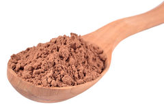 Cocoa powder in a wooden spoon on a white Royalty Free Stock Photo