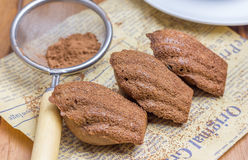 Cocoa powdered choco madeleines. On the news paper Royalty Free Stock Photo