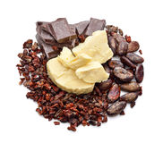 Cocoa products on the white background Royalty Free Stock Photos