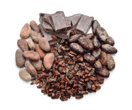 Cocoa products on the white background Royalty Free Stock Photography