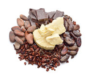 Cocoa products on the white background Stock Photography