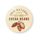 Cocoa round label with type design. Organic cocoa round label with type design Royalty Free Stock Images