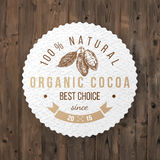 Cocoa round label with type design. Organic cocoa round label with type design Stock Photos