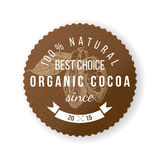 Cocoa round label with type design. Organic cocoa round label with type design Royalty Free Stock Photos