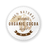 Cocoa round label with type design. Organic cocoa round label with type design Royalty Free Stock Photo