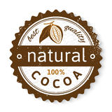 Cocoa round stamp with type design. Natural cocoa round stamp with type design Royalty Free Stock Image