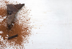 Cocoa solids and cocoa powder. Royalty Free Stock Photo