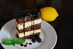 Cocoa sponge cake with lemon cream and blueberry sauce stock image