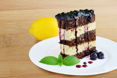 Cocoa sponge cake with lemon icing and blueberry sauce Stock Image
