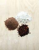 Cocoa, tea, flour Royalty Free Stock Photography