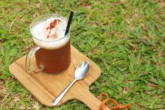 Cocoa with a teaspoon on a background of green grass. Royalty Free Stock Photo