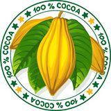 100 % cocoa - vector stamp. On white background Stock Images