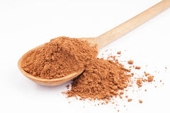 Cocoa in a wooden spoon Stock Photography