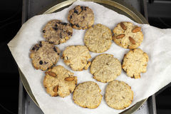Cocoanut Cookie Variety on Parchment Paper royalty free stock photography
