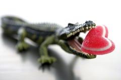 cocodrile βαλεντίνος παιχνιδιών σαγονιών καρδιών καραμελών Στοκ εικόνα με δικαίωμα ελεύθερης χρήσης