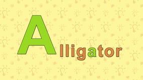 cocodrilo Alfabeto inglés del PARQUE ZOOLÓGICO - letra A stock de ilustración